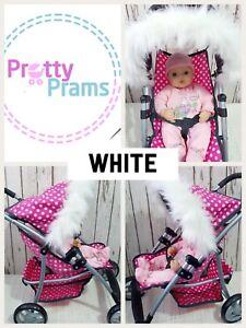 Dolls Pram Hood Fur Trim Grey White Black Pink Brown