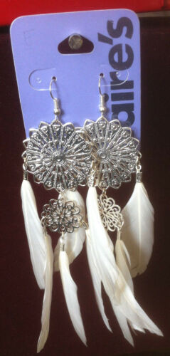 Claire/'s Claires Accessories Official Earrings White Feather Elegant £7 RRP
