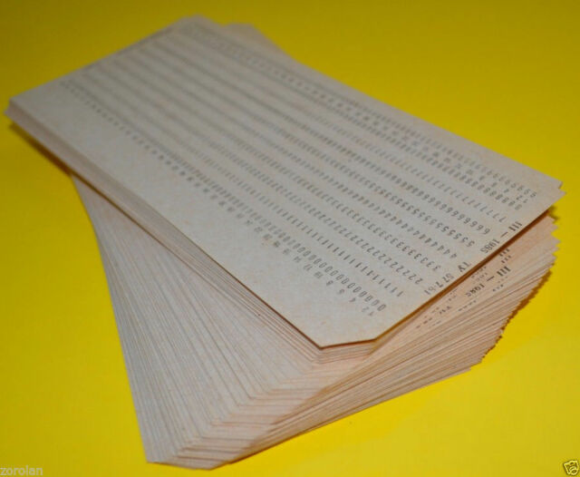 100pcs VINTAGE MAINFRAME COMPUTER PUNCH CARDS. IBM 80-column card format 70-80s