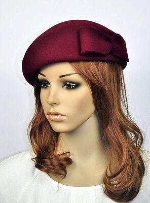M60 Elegant Bow 100% Wool Women's Winter Church Dress Hat Cap Fedora WINE-RED