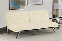 Convertible Sofa Futon Couch Bed Chaise Longue Faux Leather Sleeper Furniture