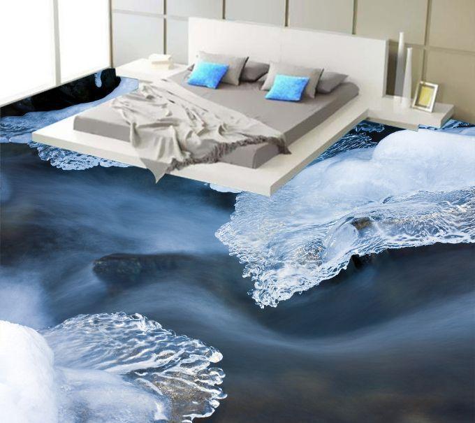3D Ice Crystals Dark Sea Floor WallPaper Murals Wall Print Decal 5D AJ WALLPAPER