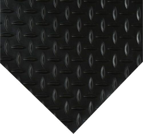x 14 ft Vinyl Floor Diamond Black Rugged Universal Mat Garage Warehouse 7.5 ft