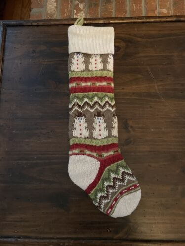 Details about  /Pottery Barn kids knit stocking Fair Isle Natural Snowman and Ivory New