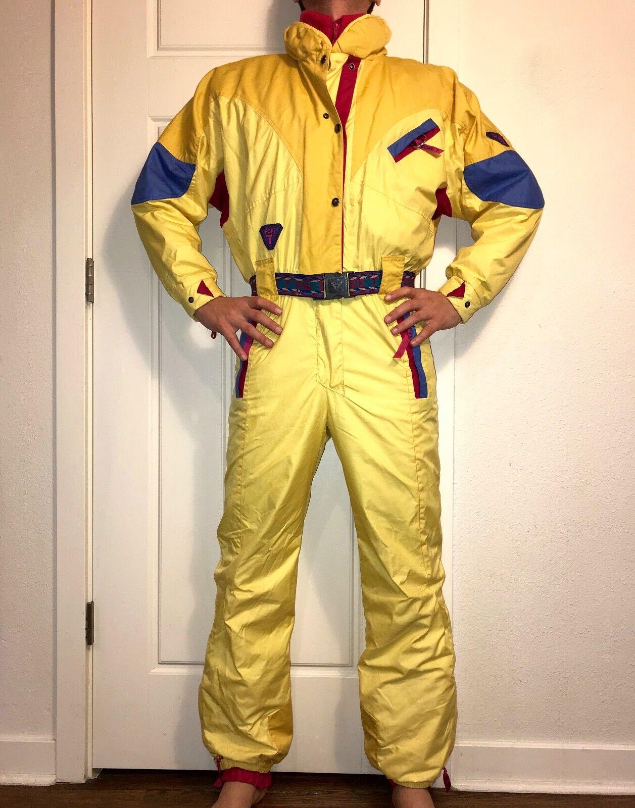 Vtg  80s 90s Yellow DEGRE 7 Womens Medium SKI SUIT One Piece Snow Bib Snowsuit 8  no tax