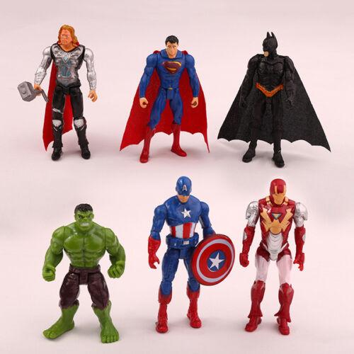 6pcs Set The Captain America Batman Iron Man Action Figure Toys Gifts
