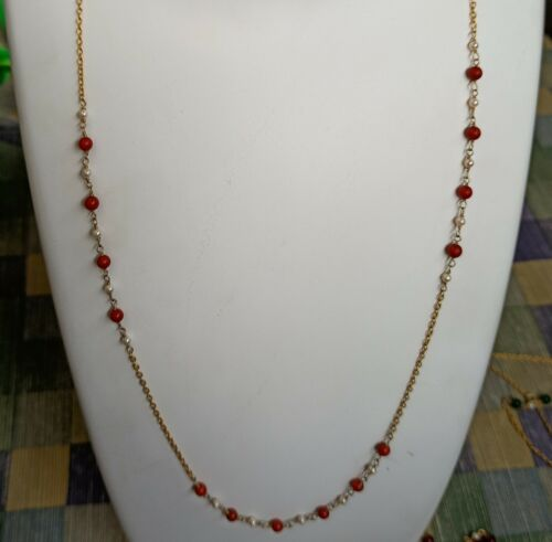 Details about  /Red Coral 925 Solid Sterling Silver Handmade Necklace US-CRL-004