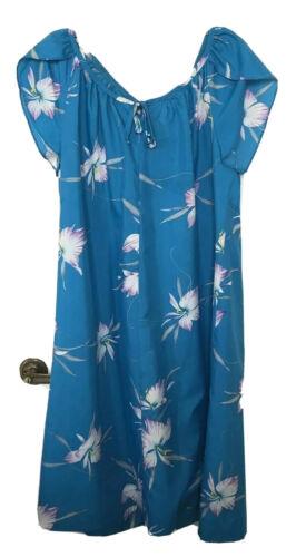 Vintage Waltah Clarke Hawaiian Muumuu Dress Turquo