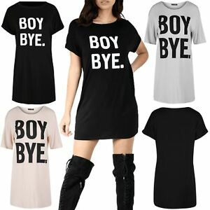 64827b132183 Womens Boy Bye Curve Hem Evening Ladies Blouse Round Neck Longline T ...