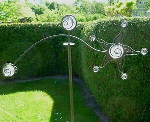 Windspiel Wippe Sonne m 8 Glas Kugeln Gartenstecker Garten Figur Metall Deko