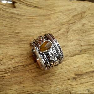 Tiger-039-s-Eye-Stone-Solid-925-Sterling-Silver-Spinner-Meditation-Ring-Size-k29