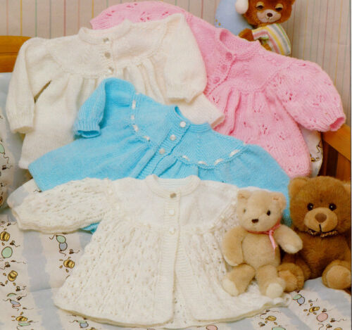 "Baby Yoked Matinee Jackets 4 ply /& DK Lacy or Plain 14/"" 18/""  Knitting Pattern"
