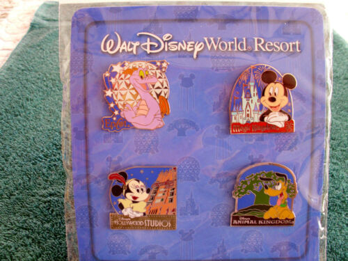 NEW in PACK 4 pin BOOSTER Set Disney World Resort CHARACTERS /& 4 PARK ICONS