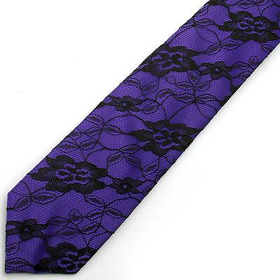 NEW Purple Black Floral Flower LACE Necktie Tie Neck Tie