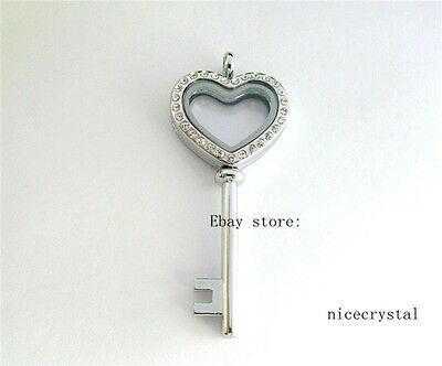 5pcs Crystal Heart Key Floating Locket living Memory locket Free shipping