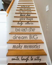 Family Decal Quote Love Decals Stair Riser Vinyl Sticker Stairs Decor Art KY84