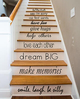 Family Decal Quote Love Decals Stair Riser Vinyl Sticker Stairs Decor Art  KY84 | EBay
