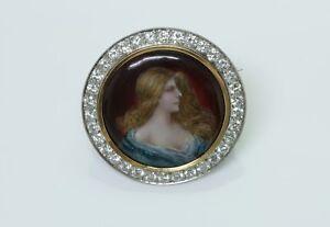 Émail de Limoges & Diamant Broche signé P. Bonnaud