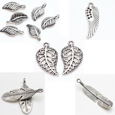 New Tibet Silver Leaves Wings Feathers Charm Pendants Craft Necklace Making DIY