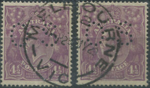 Officials-1924-SG-O84-KGV-4-d-Violet-perf-OS-2-once-a-pair-May-1929-cds