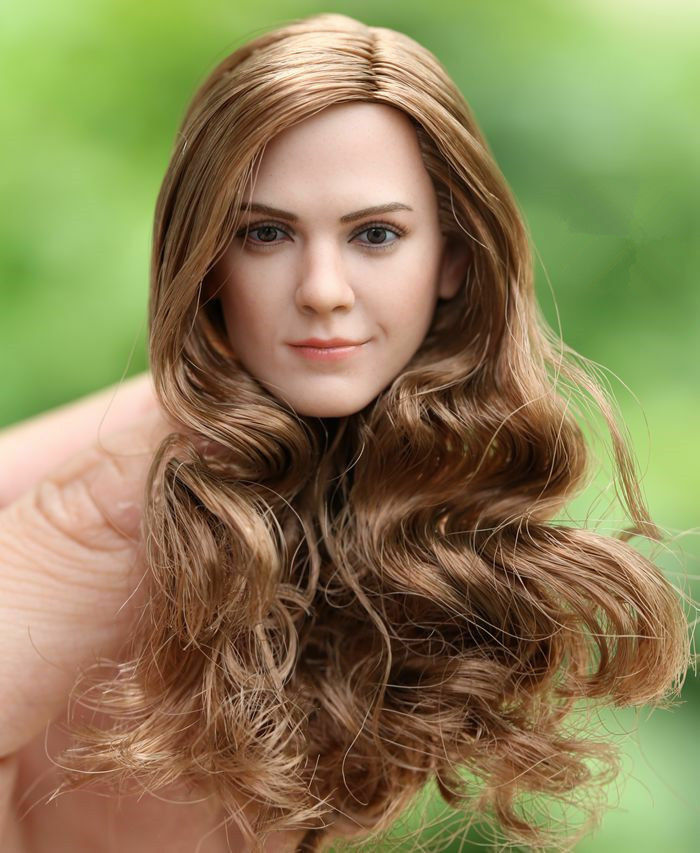 1 6 Female Head Sculpt Model Hermione Emma Watson Curls For 12  Figure Body Doll