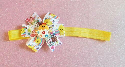 Handmade Girls Baby//Toddler Elastic Stretchy Easter Ribbon Bow Headband