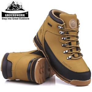 MENS LIGHTWEIGHT LEATHER SAFETY STEEL TOE CAP HIKING WORK SHOE TRAINERS BOOTS SZ