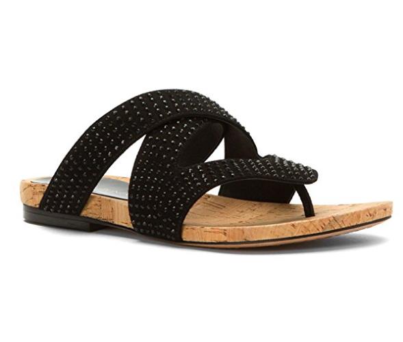 NIB  200 Donald J Pliner FLIP SP Kid Suede BLACK RHINESTONE Sandals Womens 9.5 M