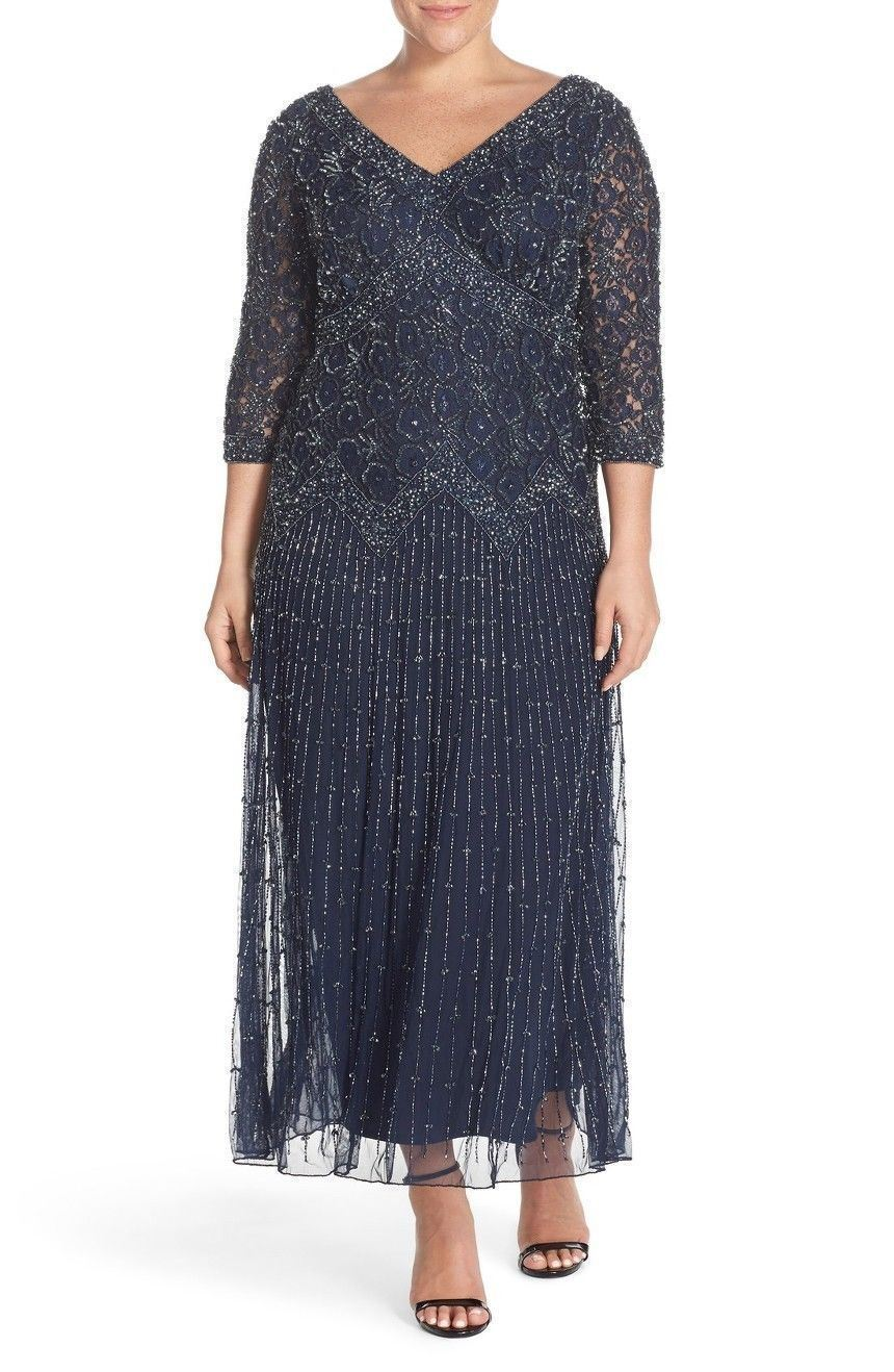 NEW Pisarro Nights Lace Beaded Mesh Dress Gown Dark bluee [SZ 10]  M639