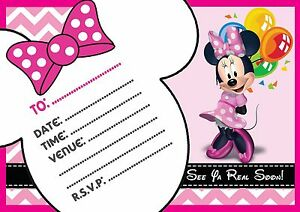 Image Is Loading MINNIE MOUSE BIRTHDAY PARTY INVITATIONS CHILDRENS INVITES KIDS
