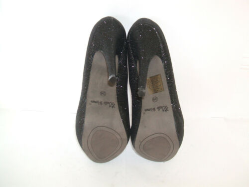 Sparkly Bnwb Size 3 36 Heel Toe Court Glitter Black Shoes High Peep Shimmer rIgqgwd