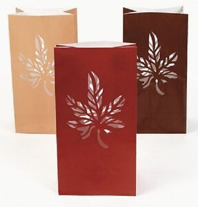 Lot-of-12-Luminary-Fall-Autumn-Colors-Paper-Gift-Wedding-Bags