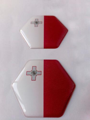 Malta Flag Domed Hex Sticker Decal