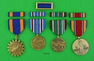 4 WWII Medals Ribbons, AIR, American & European Campaign, Victory, PUC USA made