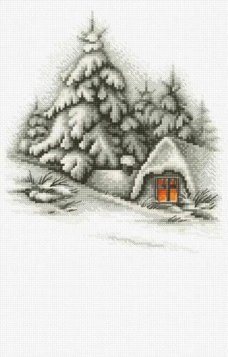 Luca-S 14ct Cross Stitch Kit Winter Snow Landscape Counted 19.5 x 21.5 cm