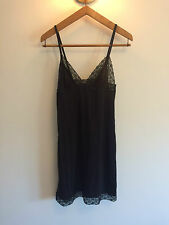 H&M Black V Lace Trim Cut Out Babydoll Night Slip Pyjama Nightwear Dress UK S