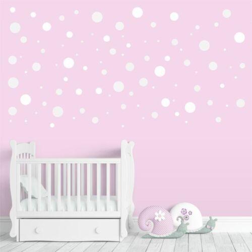 96 Stück 136 Wandtattoo Punkte-Set weiß Sticker für Kinderzimmer Baby Möbel