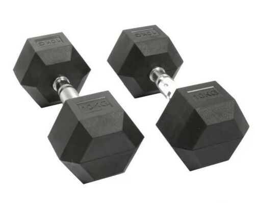 Black Cast Iron Rubber Coated Weights Home Gym 2 x 5kg Pair of Hex Dumbbells
