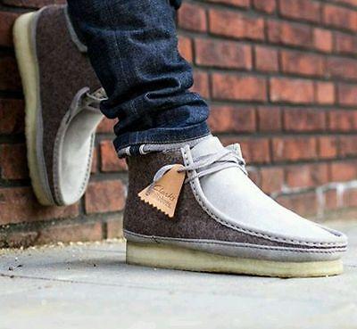 Clarks Originals Mens X Trigenic Wool Grey Felt UK 6.5,7,8,8.5,9,9.5 G