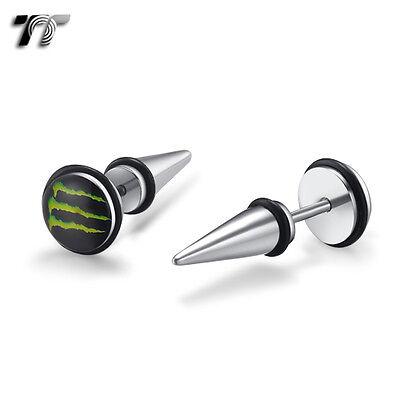 TT Clear Epoxy Red Heart Black S.Steel Fake Ear Plug Earrings A Pair BD45