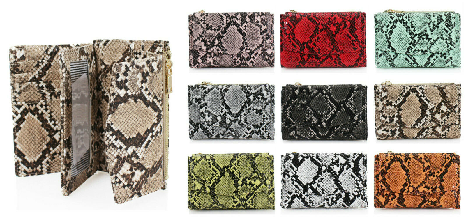 Snakeskin Print Women Folded Wallet Card Slots Coins Money ID Holder Purse 1029