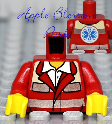 NEW Lego Minifig Red RESCUE PARAMEDIC TORSO Hospital Ambulance EMT Doctor Nurse