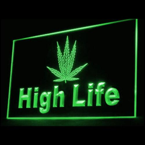 220009 High Life Marijuana Hemp herbal Psychedelic Tansy Exhibit LED Light Sign