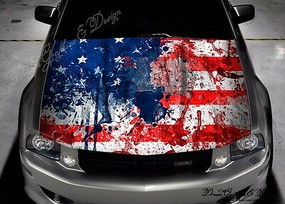 American Flag Full Color Graphics Adhesive Vinyl Sticker Fit any Car Hood #291