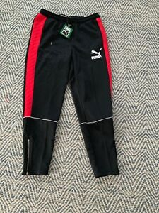 80-New-PUMA-Men-039-s-Retro-Quilted-Pants-Black-Ribbon-Red