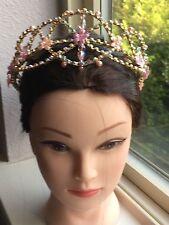 Professional Handmade Ballet Tiara Headpiece Crystals Pink & Gold Aurora Fairy