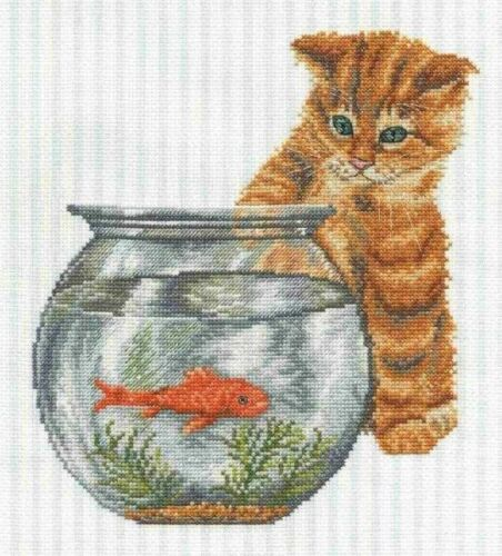 Stickpackung Stickbild Telpakket 23x24 Kätzchen mit Goldfisch Katze Kitten cat