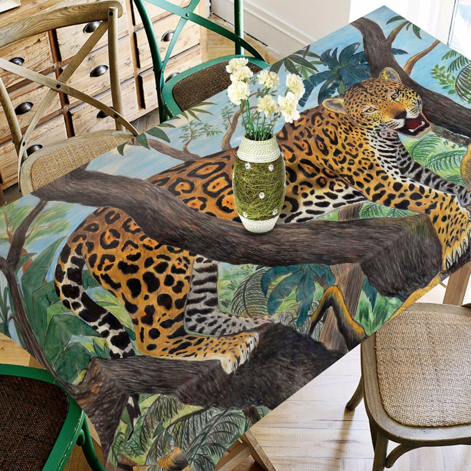 3D Leopard Tablecloth Table Cover Cloth Birthday Party AJ WALLPAPER UK Lemon