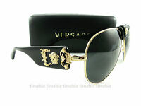 New VERSACE Sunglasses VE 2150Q Gold Black 1002/87 Authentic