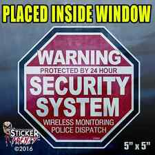 "5 Pack INSIDE Warning 24 hour Security Sys Stickers ""OCT"" RED Alarm Decal FS062"